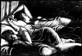 wood-engraving original print of women sleeping: The Sleepers